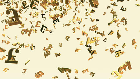 Falling British Pound sign in gold color on white Animation