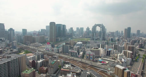Aerial view of Osaka City Umeda Metro area Japan city CBD business area Footage