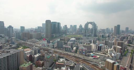 Aerial view of Osaka City Umeda Metro area Japan city CBD business area Footage