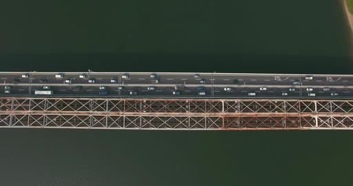 Birds eye view of Bridge over ocean Footage