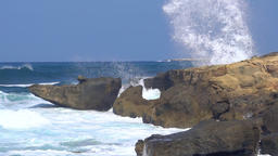 Sideview of great waves splashing at the shore, slow motion Footage