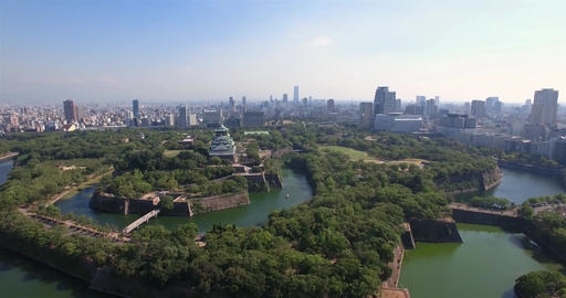 Osaka Castle aerial view acending wide angle shot Live Action