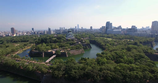Osaka castle tourist Atrraction Japan popular travel destination aerial shot Footage