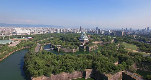 Osaka Castle tourist attraction accending view wide angle ビデオ