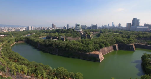 Wide angle Osaka Castle aerial shot moving attraction Footage