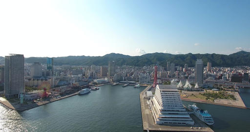 KObe city Japan erial reveal shot habour and city cruise ships Footage