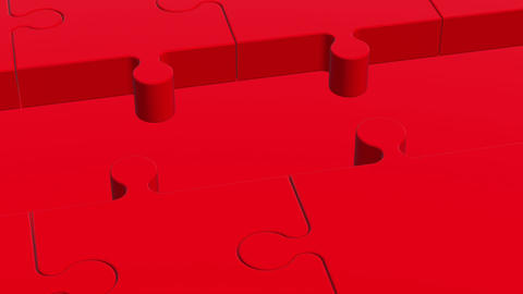 Puzzle pieces in red and white colors Animation