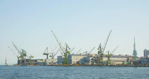Ship Building yards in Kobe Japan large cranes and heavy industry equiptment Live-Action