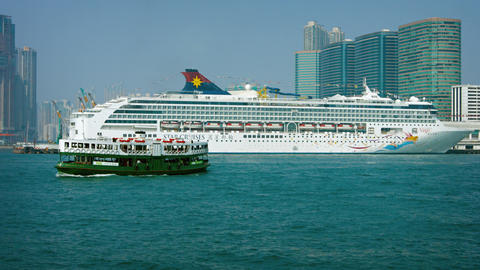 SuperStar Virgo. flagship of Star Cruises' Asian fleet. docked in Hong Kong Footage