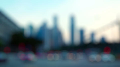 Blurry Abstract of Urban Skyline with Traffic Live Action