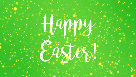 Sparkly green Happy Easter greeting card video Animation
