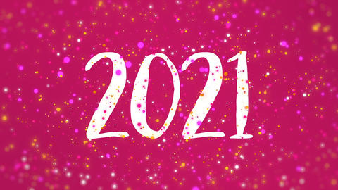 Sparkly pink Happy New Year 2021 greeting card video Animation