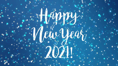 Sparkly blue Happy New Year 2021 greeting card video Animation