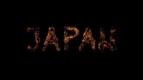 Word JAPAN burning Steel wool smoldering on transparent background Beautiful combustion Exciting Live Action
