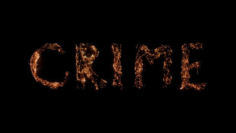 Word CRIME burning Steel wool smoldering on transparent background Beautiful combustion Exciting Live Action