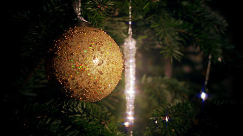 Multi Colored Christmas Ball And Rotating Icicle Slow Looping Video Background Live Action
