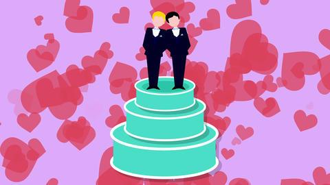 Groom and groom just married. Wedding cake animation Animation