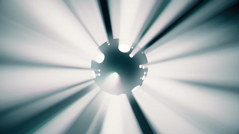 Dynamic multi-colored light rays coming from a rotating black sphere Animation
