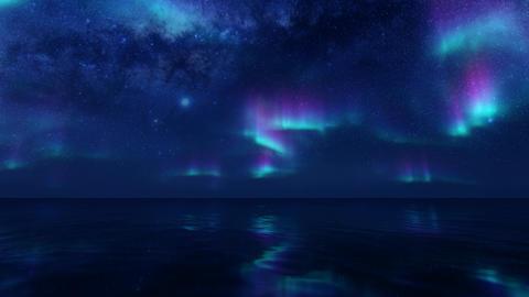 Northern lights on transparent background. Dark background. Aurora borealis Live Action
