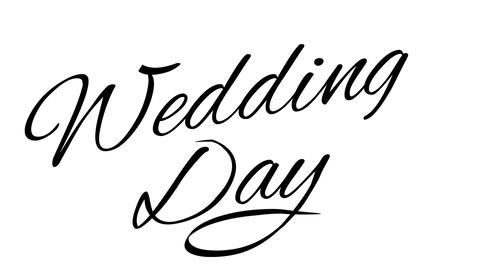 Wedding day. Calligraphic title with Alpha Channel Animation