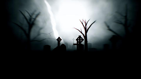 Spooky Graveyard At Night With Lightning Looping Video Background Animation