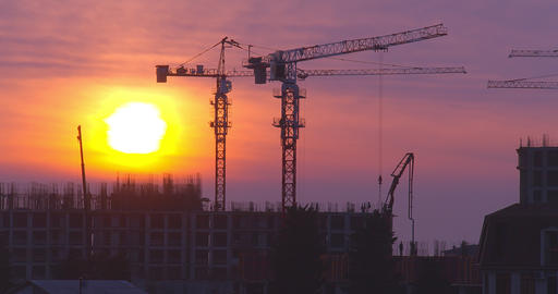 Construction of a residential complex in the city. Time lapse Live Action