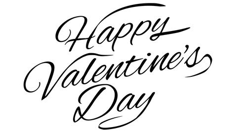 Happy Valentines Day. Calligraphic title with Alpha Channel Animation