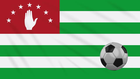 Abkhazia flag and soccer ball rotates on background of waving cloth, loop Animation