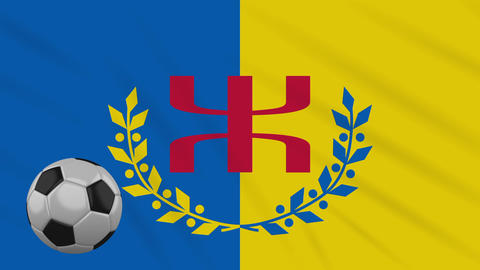 Kabylia flag and soccer ball rotates on background of waving cloth, loop Animation