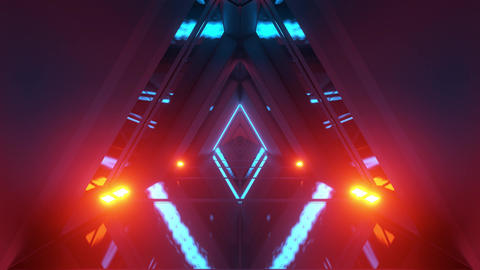 glowing triangle space ship temple tunnel corridor in futuristic sci-fi style Animation