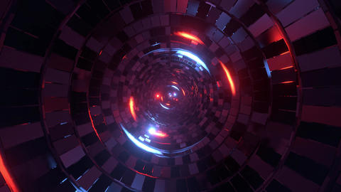 abstract round tunnel with brick pattern texture and glowing spheres 3d Live Action