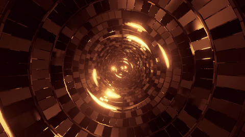 abstract round tunnel with brick pattern texture and glowing spheres 3d Animation