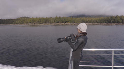 Misty Fiords Cruise boat tourist on Adventure tour in Alaska Live Action