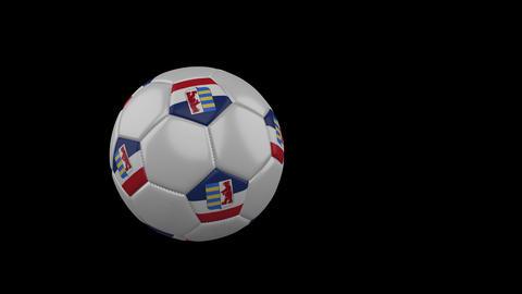 Carpathian Ruthenia flag on flying soccer ball on transparent background, alpha Animation