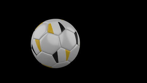 Matabeleland flag on flying soccer ball on transparent background, alpha channel Animation