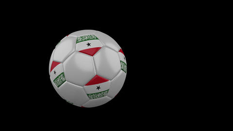 Somaliland flag on flying soccer ball on transparent background, alpha channel Animation