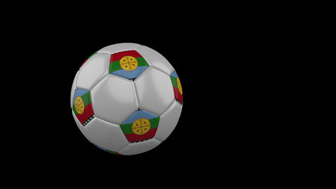 Mapuche flag on flying soccer ball on transparent background, alpha channel Animation