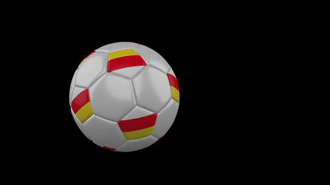 South Ossetia flag on flying soccer ball on transparent background alpha channel Animation