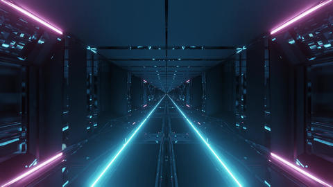 futuristic technical science-fiction tunnel corridor with endless glowing lights Animation