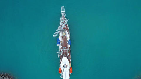 Cruise sailing vessel. Overhead view Live Action