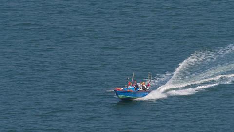 Motorboats speeding on the bay near Lantau island Live Action