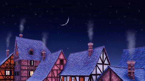 Rural house roofs with smoke from chimneys at starry night Animation