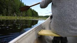 Paddling in a canoe on a peaceful lake Live Action