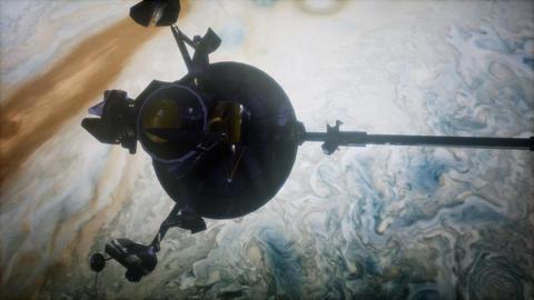 Galileo spacecraft orbiting Jupiter Live Action