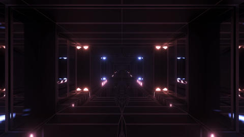 dark atmospheric science-fiction tunnel corridor with glowing lights and Animation