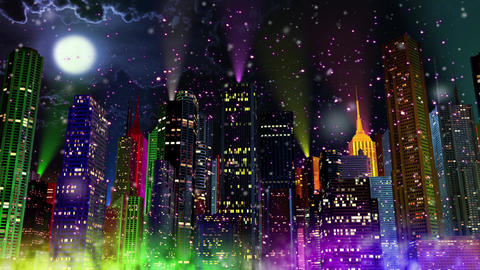 4K Colorful Modern City at Night in Snowfall Seamless Looping Animation Animation