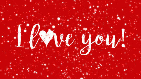 Sparkly red I love you Valentine card Animation