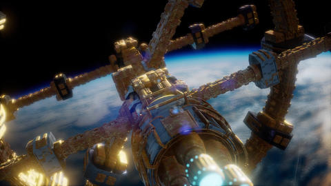 Earth and Spacecraft. space ship over the earth Live Action
