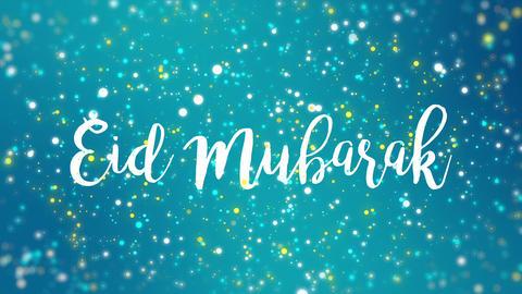 Sparkly turquoise blue Eid Mubarak greeting card video Animation
