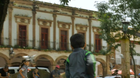 PATZCUARO, MEXICO - CIRCA AUGUST 2016 - kids chase pigeons in a park in slow mot Footage